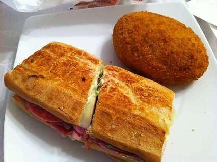 floridatraveler deviled crab and Cuban sandwich (no mayo)