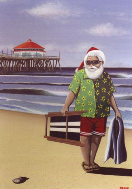 floridatraveler santa stroll on beach