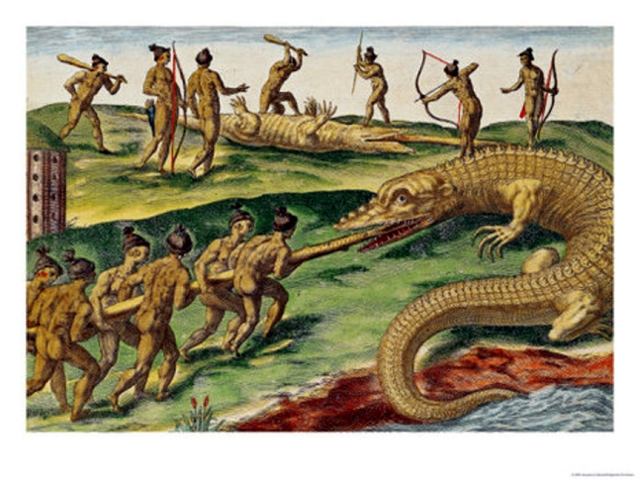 FLORIDATRAVELER jacques-le-moyne-hunting-crocodiles-from-brevis-narratio-1563