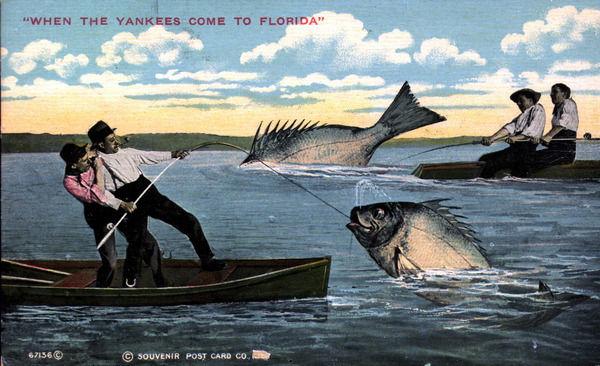 floridatraveler FUN POSTCARD fishing 1912COMEDY
