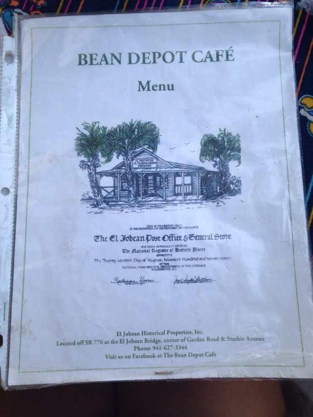 floridatraveler BEAN DEPOT menu