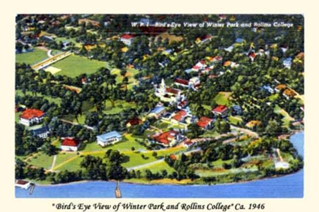 floridatraveler WINTER PARK from the air postcard