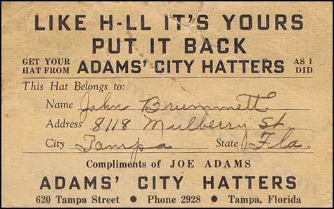 FLORIDARAVELER elvis Adams City Hatters
